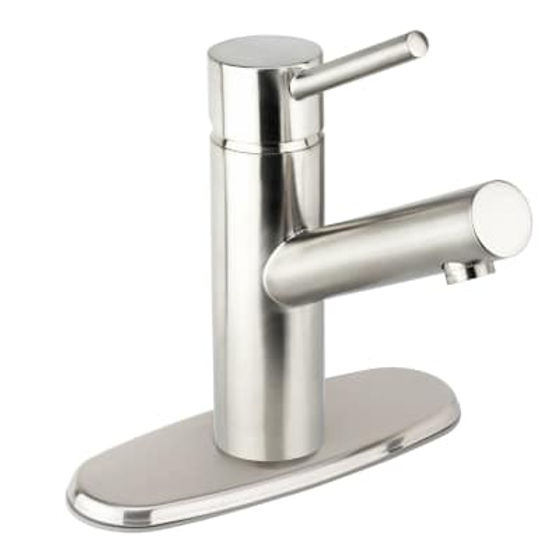 Miseno MNO102BN Mia-S Single Hole Bathroom Faucet with 50/50 Push-Pop Drain Assembly (Includes Optional Deck Plate)