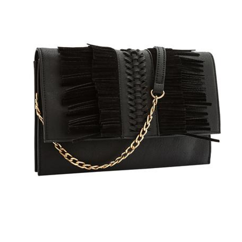 Black fringe detail clutch/crossbody