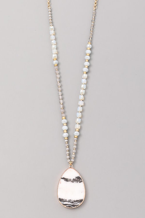 Stone Long Beaded Necklace