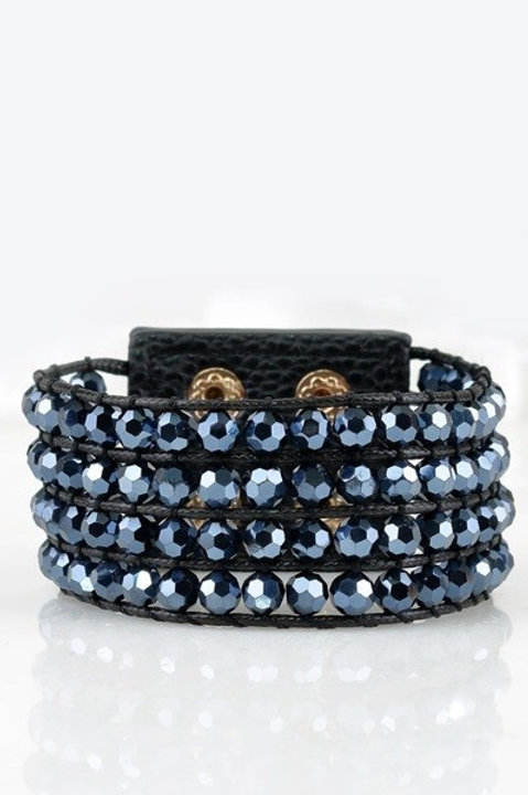Beaded Leather Button Braclet