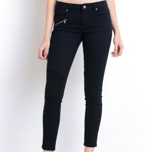 Black moto skinny jeans