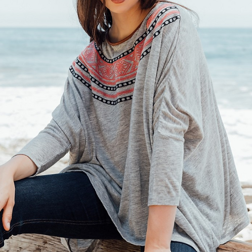Embroidered yoke easy fit sweater