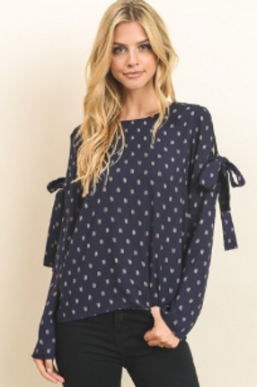 Chevron bow knot blouse