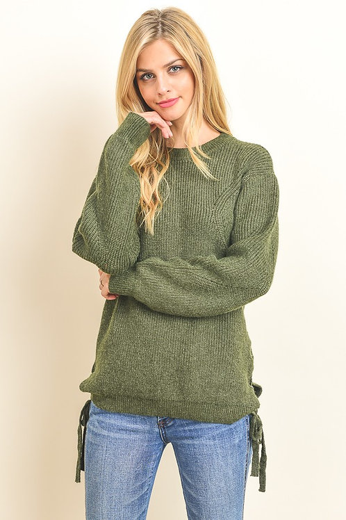 Cozy tie side detail sweater
