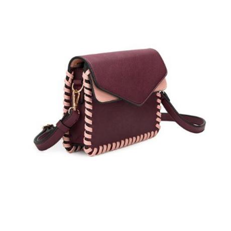 Burgundy vegan leather crossbody bag
