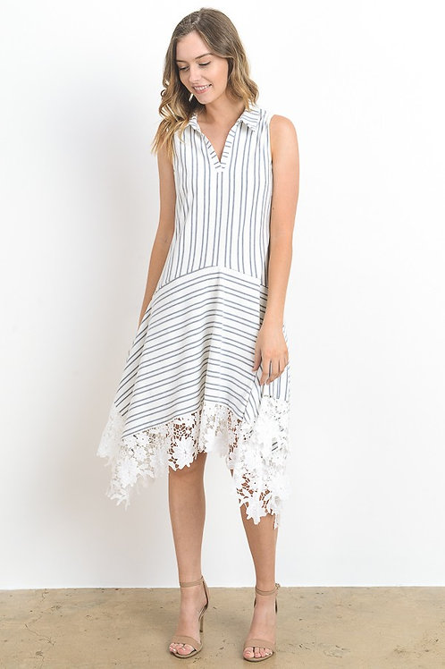 Never Enough Stripe and Crochet Dress