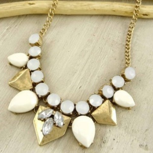 Burnished gold and rhinestone necklace