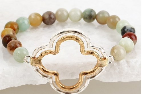 Stone stretch clover bracelet