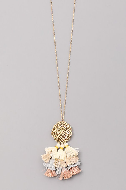 Gold Fringe Long Necklace