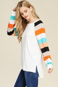 Stripe Raglan Sleeve Knit Top