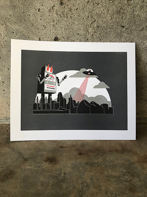 City Invasion Letterpress Print