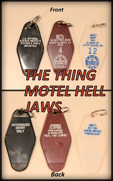 3 key chains - THE THING, MOTEL HELL, JAWS Keytags