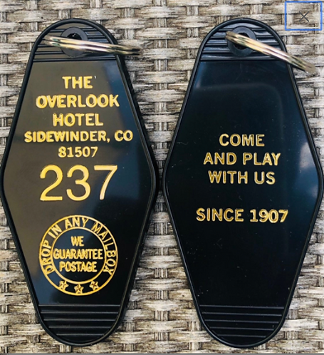 BLACK / GOLD lettered Overlook Hotel Keytag