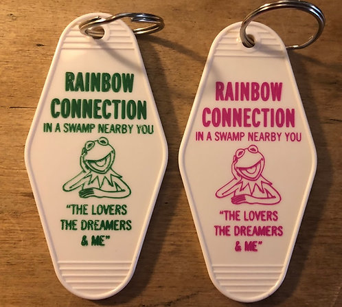 Muppet Movie inspired RAINBOW CONNECTION keytag in Pink or Green Print