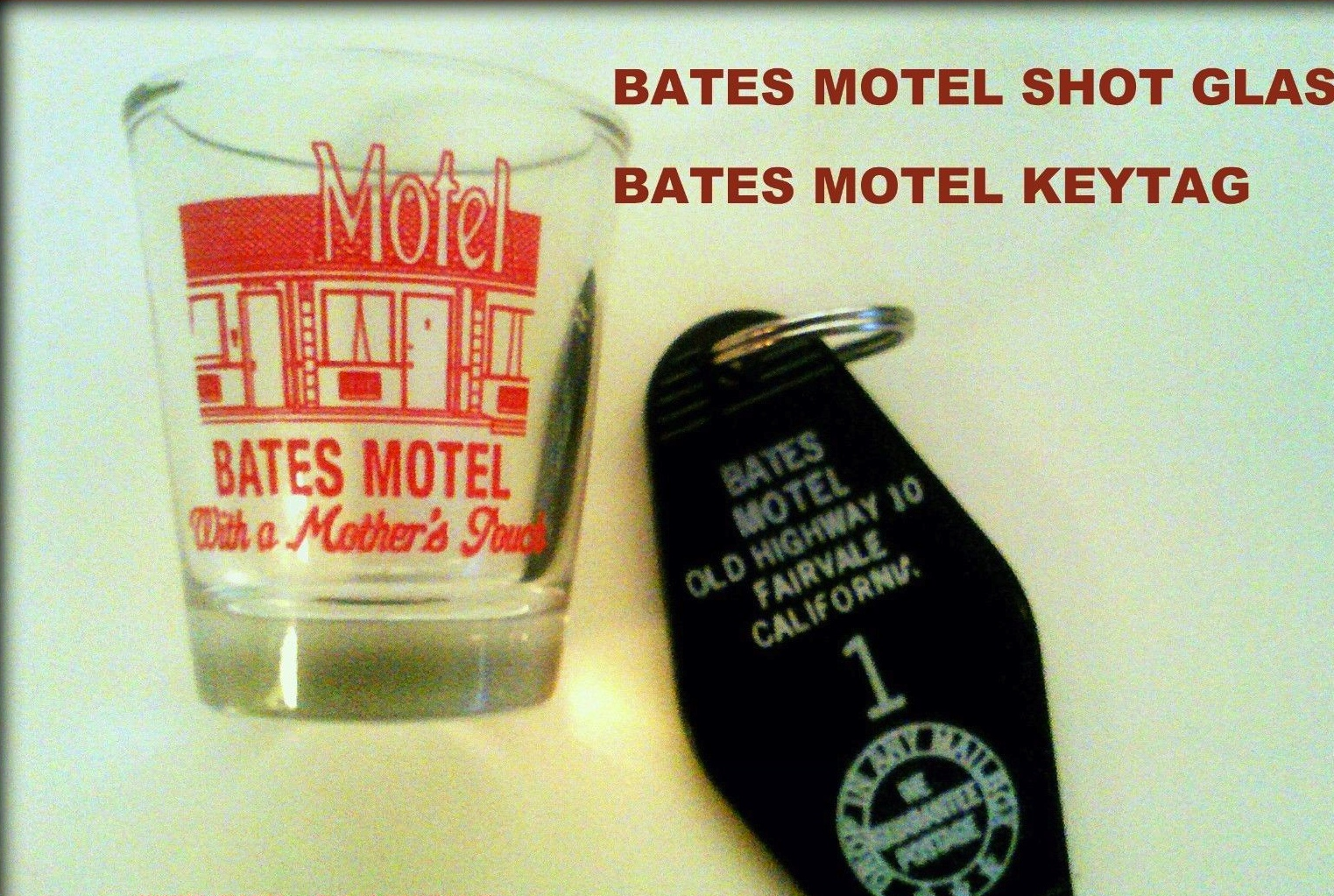 BATES MOTEL SHOT GLASS & KEYTAG