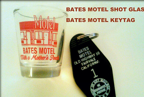 BATES MOTEL SHOT GLASS & BATES MOTEL KEYTAG - FREE