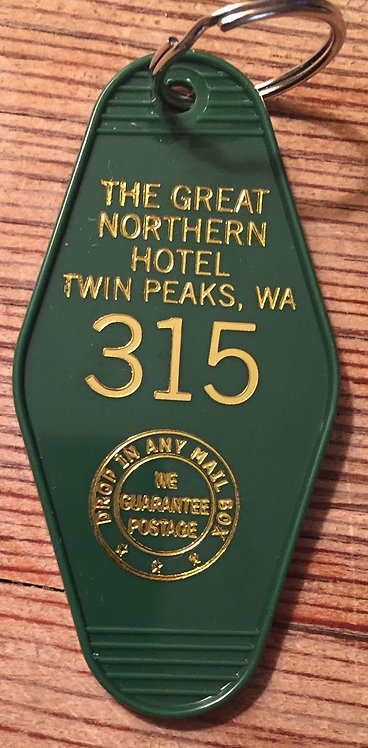 New Style! Gold printed TWIN PEAKS Keytag