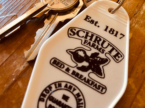The OFFICE inspired Schrute Farms Bed and Breakfast keytag