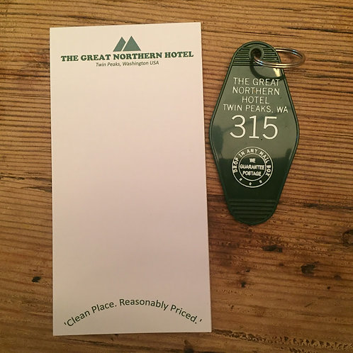COMBO - TWIN PEAKS inspired  Keytag and notepad