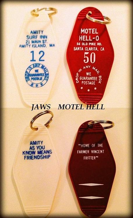 JAWS & MOTEL HELL - 2 key tags - FREE SHIPPING