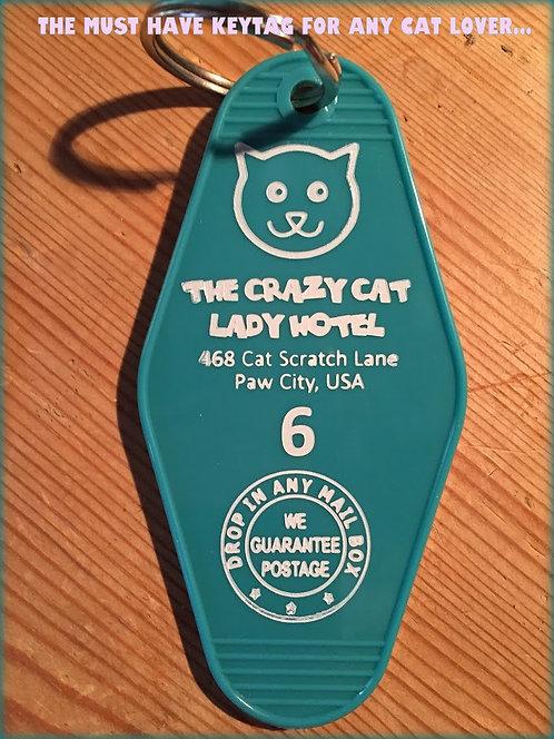 The Crazy Cat Lady Hotel Keytag
