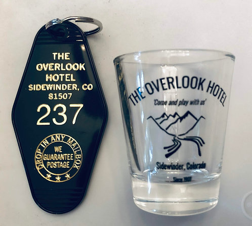 OVERLOOK HOTEL shotglass and black/gold keytag combo