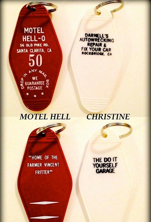 MOTEL HELL & CHRISTINE - 2 key tags - FREE SHIP!