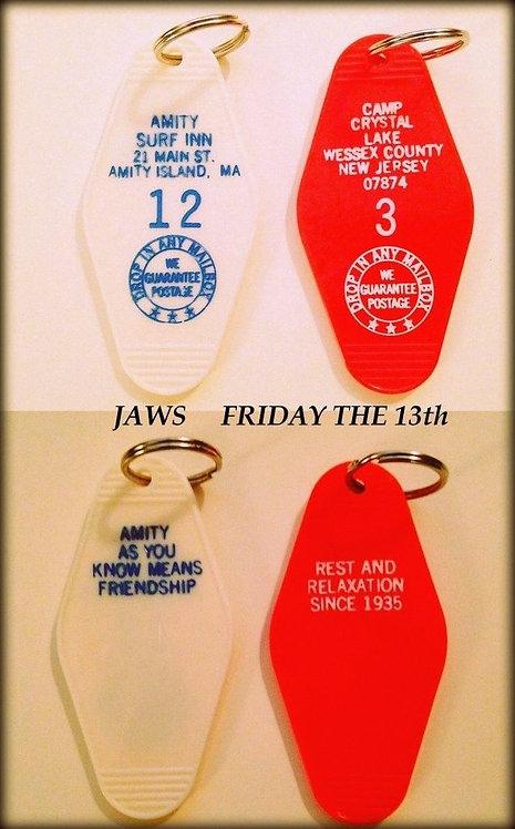 JAWS & FRIDAY THE 13th - 2 key tags - FREE SHIPPIN