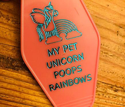 My pet unicorn poops rainbows keytag