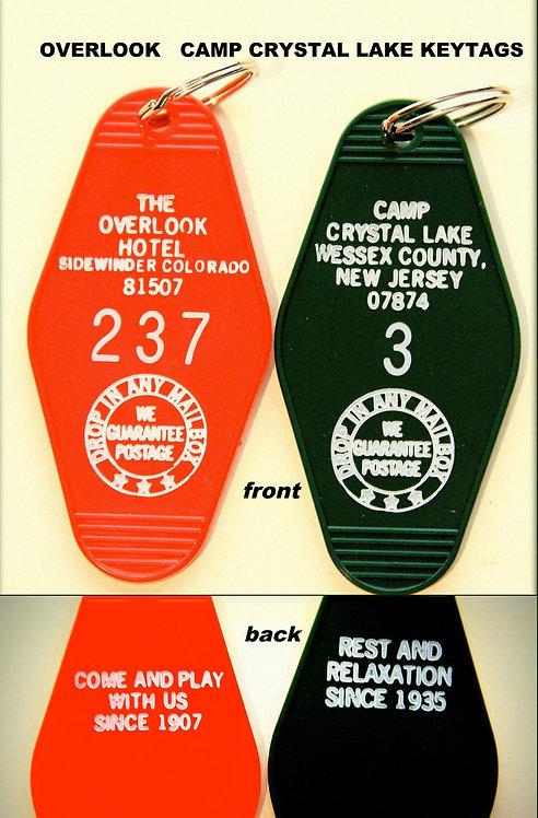 Crystal Lake & Overlook Hotel key tags - FREE SHIP