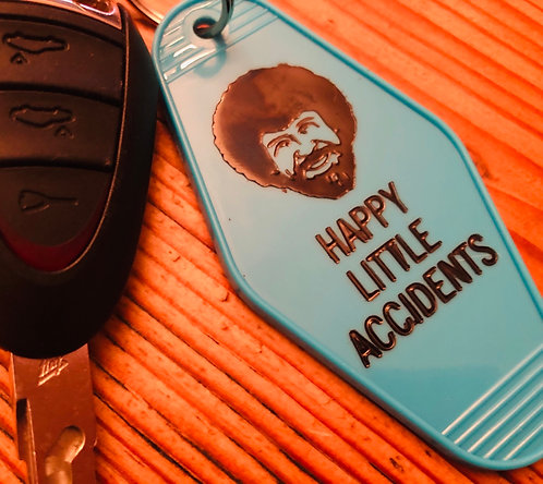 Bob Ross happy little accidents inspired keytag