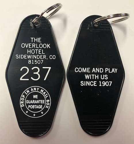 The OVERLOOK HOTEL KEYTAG (Black with white print)