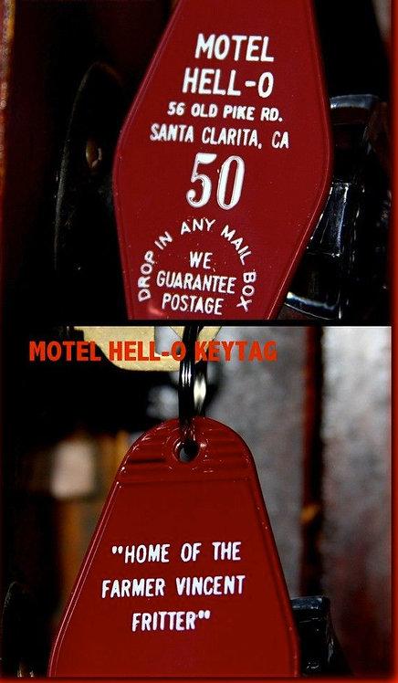"MOTEL HELL inspired ""Motel Hell-O"" KEYCHAIN, key f"