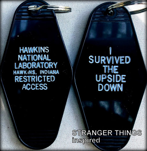 Stranger Things inspired HAWKINS NATIONAL LABORATORY key tag