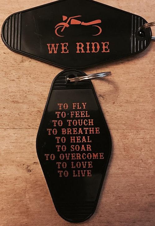 WE RIDE... Keytag.  A motorcycle inspired keytag.
