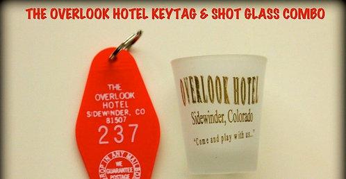 OVERLOOK HOTEL SHOT GLASS & OVERLOOK HOTEL KEYTAG