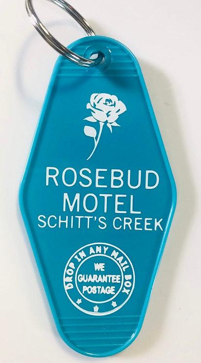 Teal SCHITT'S CREEK inspired Rosebud Hotel Keytag