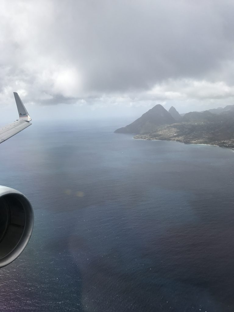 The Pitons on approach to UVF