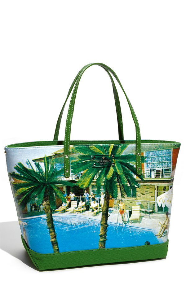 kate spade new york 'wish you were here - coal small' canvas tote