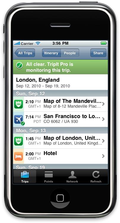 iPhone Sample Itinerary