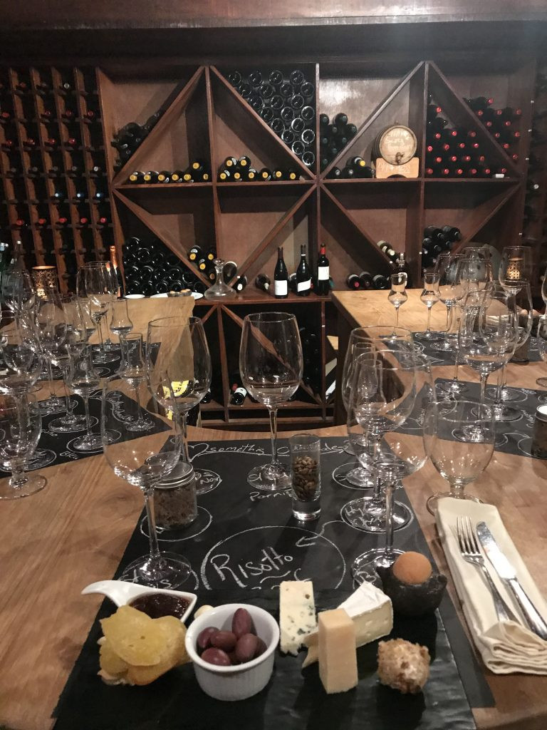 Dinner in the wine cellar at Cap Maison