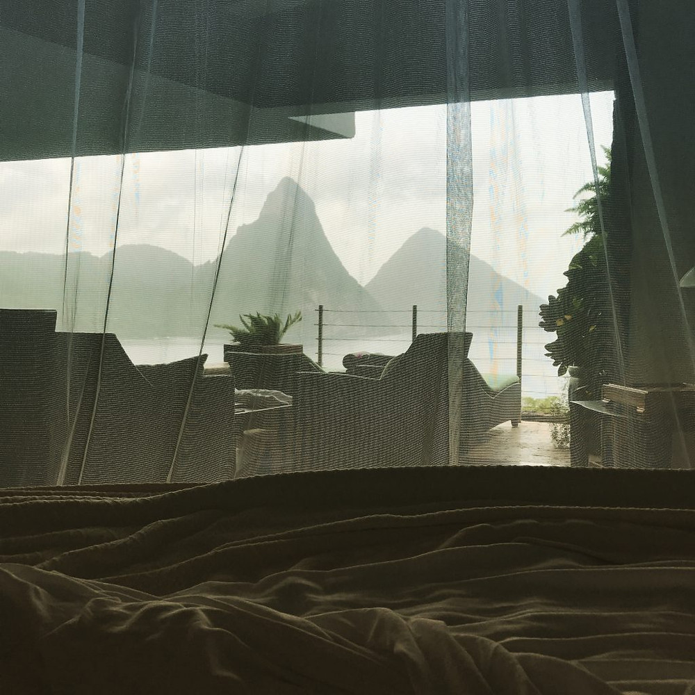 View from bed at Jade Mountain