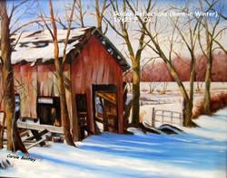 Golden Reflections (Barn in Winter)