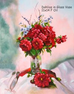 Dahlias in Glass Vase