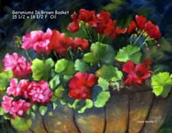 Geraniums In Brown Basket