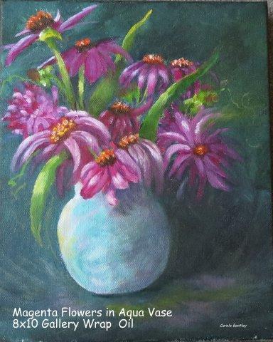 Magenta Flowers in Aqua Vase