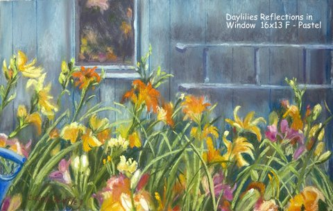 Daylilies Reflections in Window