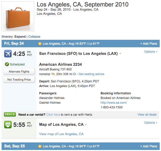 Sample Flight Itinerary