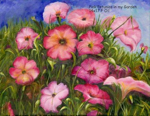 Pink Petunias in my Garden