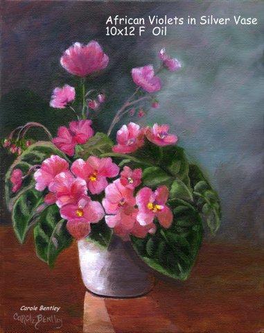 African Violets in Silver Vase